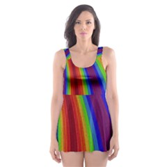 Abstract Pattern Lines Wave Skater Dress Swimsuit