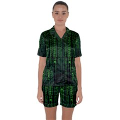 Matrix Communication Software Pc Satin Short Sleeve Pyjamas Set