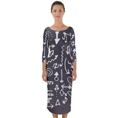 Arrows Board School Blackboard Quarter Sleeve Midi Bodycon Dress