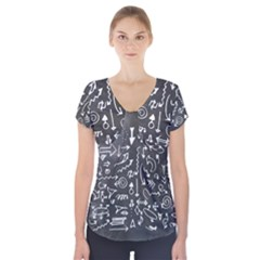 Arrows Board School Blackboard Short Sleeve Front Detail Top