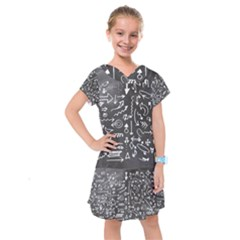 Arrows Board School Blackboard Kids  Drop Waist Dress