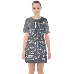 Arrows Board School Blackboard Sixties Short Sleeve Mini Dress