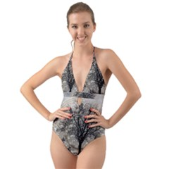 Snow Snowfall New Year S Day Halter Cut Out One Piece Swimsuit
