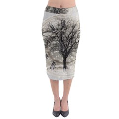 Snow Snowfall New Year S Day Midi Pencil Skirt