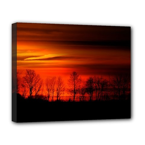 Tree Series Sun Orange Sunset Deluxe Canvas 20  X 16   by BangZart