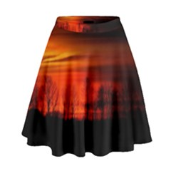 Tree Series Sun Orange Sunset High Waist Skirt by BangZart