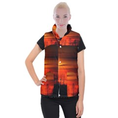 Tree Series Sun Orange Sunset Women s Button Up Puffer Vest by BangZart