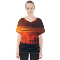 Tree Series Sun Orange Sunset V Neck Dolman Drape Top
