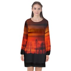 Tree Series Sun Orange Sunset Long Sleeve Chiffon Shift Dress