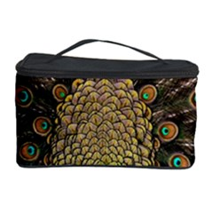 Peacock Feathers Wheel Plumage Cosmetic Storage Case