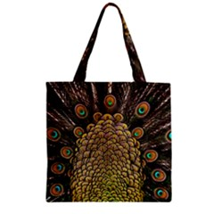 Peacock Feathers Wheel Plumage Zipper Grocery Tote Bag