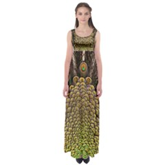 Peacock Feathers Wheel Plumage Empire Waist Maxi Dress