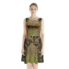 Peacock Feathers Wheel Plumage Sleeveless Waist Tie Chiffon Dress