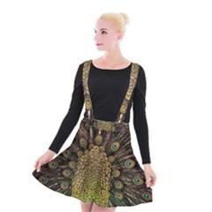 Peacock Feathers Wheel Plumage Suspender Skater Skirt