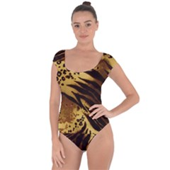 Pattern Tiger Stripes Print Animal Short Sleeve Leotard