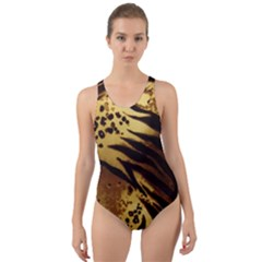 Pattern Tiger Stripes Print Animal Cut Out Back One Piece Swimsuit