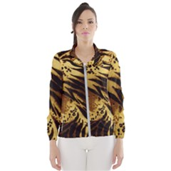 Pattern Tiger Stripes Print Animal Wind Breaker (women)