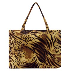 Pattern Tiger Stripes Print Animal Zipper Medium Tote Bag