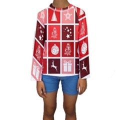 Christmas Map Innovative Modern Kids  Long Sleeve Swimwear