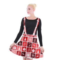 Christmas Map Innovative Modern Suspender Skater Skirt