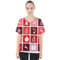 Christmas Map Innovative Modern V Neck Dolman Drape Top