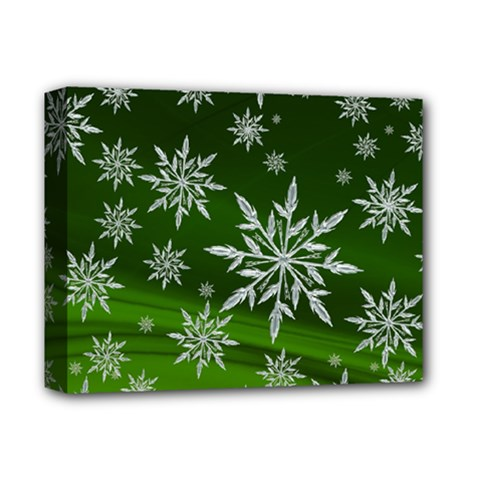 Christmas Star Ice Crystal Green Background Deluxe Canvas 14  X 11