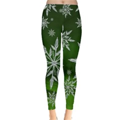 Christmas Star Ice Crystal Green Background Leggings  by BangZart