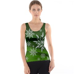 Christmas Star Ice Crystal Green Background Tank Top