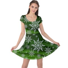 Christmas Star Ice Crystal Green Background Cap Sleeve Dress