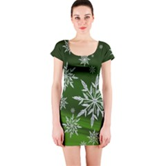 Christmas Star Ice Crystal Green Background Short Sleeve Bodycon Dress