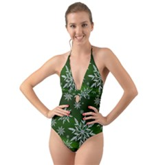 Christmas Star Ice Crystal Green Background Halter Cut Out One Piece Swimsuit