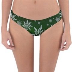 Christmas Star Ice Crystal Green Background Reversible Hipster Bikini Bottoms