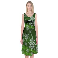 Christmas Star Ice Crystal Green Background Midi Sleeveless Dress