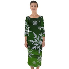 Christmas Star Ice Crystal Green Background Quarter Sleeve Midi Bodycon Dress