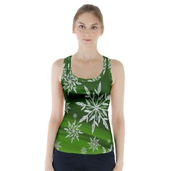 Christmas Star Ice Crystal Green Background Racer Back Sports Top