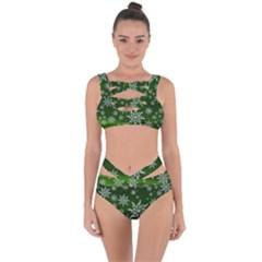 Christmas Star Ice Crystal Green Background Bandaged Up Bikini Set