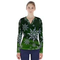 Christmas Star Ice Crystal Green Background V Neck Long Sleeve Top