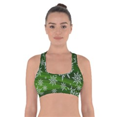 Christmas Star Ice Crystal Green Background Cross Back Sports Bra