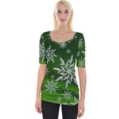 Christmas Star Ice Crystal Green Background Wide Neckline Tee