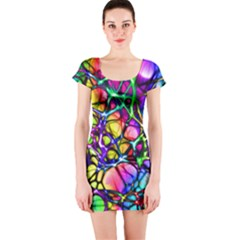 Network Nerves Nervous System Line Short Sleeve Bodycon Dress
