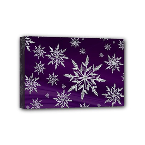 Christmas Star Ice Crystal Purple Background Mini Canvas 6  X 4