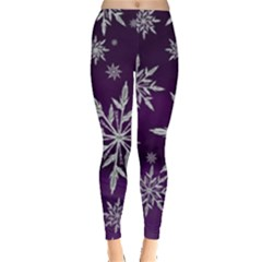 Christmas Star Ice Crystal Purple Background Leggings