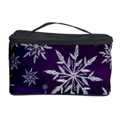 Christmas Star Ice Crystal Purple Background Cosmetic Storage Case