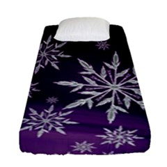 Christmas Star Ice Crystal Purple Background Fitted Sheet (single Size)
