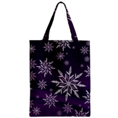 Christmas Star Ice Crystal Purple Background Zipper Classic Tote Bag