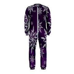 Christmas Star Ice Crystal Purple Background Onepiece Jumpsuit (kids)