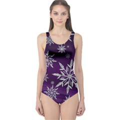 Christmas Star Ice Crystal Purple Background One Piece Swimsuit