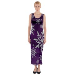 Christmas Star Ice Crystal Purple Background Fitted Maxi Dress