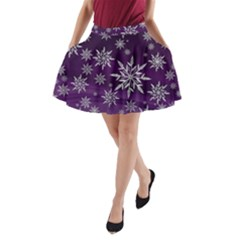 Christmas Star Ice Crystal Purple Background A Line Pocket Skirt