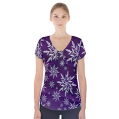 Christmas Star Ice Crystal Purple Background Short Sleeve Front Detail Top